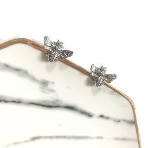 Silver Bumblebee Stud Boutique Earrings